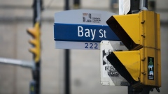 A sign for Bay Street hangs in the financial district of Toronto, Ontario, Canada