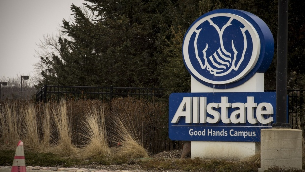 Signage is displayed outside Allstate Corp. campus in Northbrook, Illinois, U.S., on Sunday, Jan. 29, 2017. Allstate Corp. is scheduled to release earning figures on February 1.