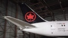 The tail of the newly revealed Air Canada Boeing 787-8 Dreamliner aircraft is seen at a hangar at th