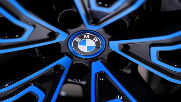 The BMW logo sits on the wheel hub of a BMW iHydrogen fuel cell sports utility vehicle sits in the Bayerische Motoren Werke AG exhibition hall on the opening day of the IAA Frankfurt Motor Show in Frankfurt, Germany, on Tuesday, Sept. 10, 2019. The 68th IAA show runs from Sept. 12-22.