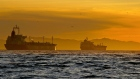 Oil tankers are anchored near the Port of Long Beach, California, U.S.