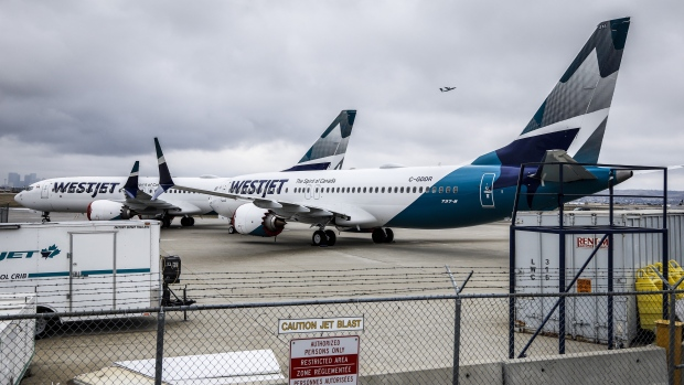 Grounded WestJet Boeing 737 Max aircraft
