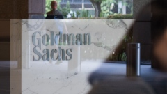 The Goldman Sachs Group Inc. logo is displayed in the reception area of the One Raffles Link building, which houses one of the Goldman Sachs (Singapore) Pte offices, in Singapore.
