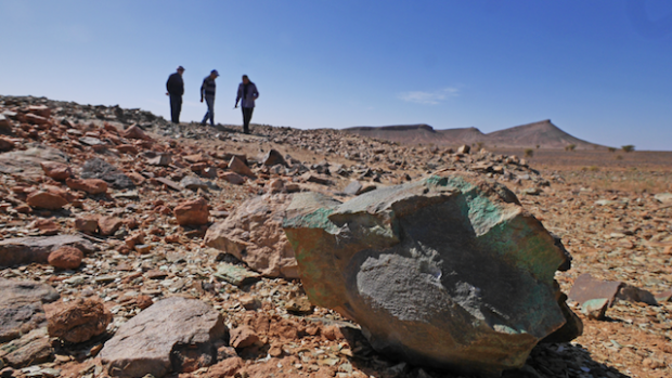 MARKET ONE - Copper-rich ore encountered at random at Silver Hill Project site, Morocco.