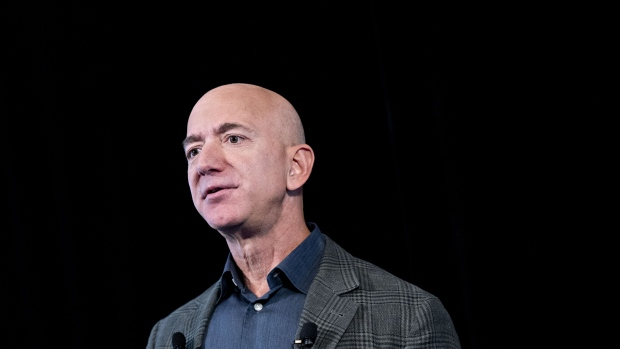 Jeff Bezos, founder and chief executive officer of Amazon.com Inc., speaks during a news conference at the National Press Club in Washington, D.C., U.S., on Thursday, Sept. 19, 2019. Bezos spoke about Amazons sustainability efforts a day before workers around the world, including more than 1,000 of his own employees, are scheduled to walk out to spotlight climate change. Photographer: Andrew Harrer/Bloomberg