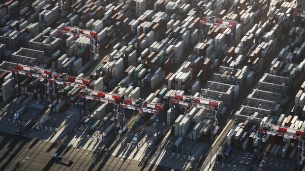 LONG BEACH, CA - SEPTEMBER 18: Shipping containers stand stacked at the Port of Long Beach, the nation's second-busiest container port, on September 18, 2018 in Long Beach, California. China will impose an additional $60 billion in tariffs on U.S. imports in retaliation to $200 billion in tariffs on Chinese imports set by U.S. President Donald Trump. (Photo by Mario Tama/Getty Images) Photographer: Mario Tama/Getty Images North America