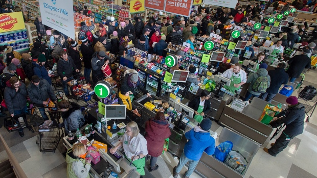 Customers pack a Sobeys grocery store in St. John's on Tuesday, January 21, 2020.