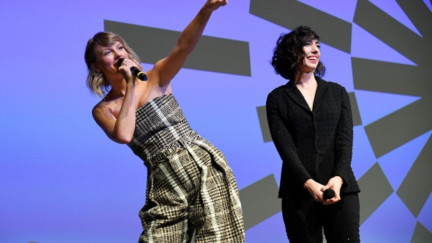 Taylor Swift and Lana Wilson speak onstage during the Netflix premiere of Miss Americana at the Sundance Film Festival on Jan. 23, 2020.