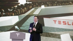Elon Musk, chief executive officer of Tesla Inc., pauses while speaking during the Tesla China-Made Model 3 Delivery Ceremony at the company's Gigafactory in Shanghai, China, on Tuesday, Jan. 7, 2020. Tesla kicked off production in China, marking a major step in Musk's global push for electric-vehicle domination and heralding what could be the dawn of real competition in the world's largest EV market.