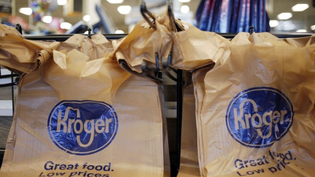 Signage is displayed on plastic bags at a Kroger Co. supermarket in Louisville, Kentucky, U.S., on Tuesday, March 5, 2019. Kroger Co. is scheduled to release earnings figures on March 7. Photographer: Bloomberg/Bloomberg