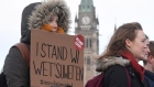 Protesters in solidarity with the Wet'suwet'en hereditary chiefs