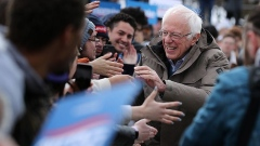 Bernie Sanders greets supporters at a campaign rally in Salt Lake City, Utah, on March 2.