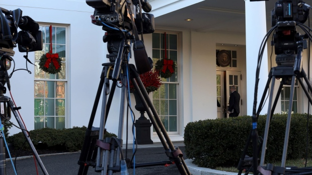 TV news cameras are set up outside the West Wing of the White House December 18, 2019 in Washington, D.C.