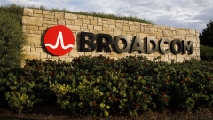 Signage is displayed outside of Broadcom Ltd. headquarters in Irvine, California, U.S., on Monday, Nov. 6, 2017. Broadcom Ltd. and its advisers are gearing up for a proxy battle, making an appeal directly to shareholders, should Qualcomm Inc. reject its $105 billion takeover offer, according to a person with knowledge of the matter. Photographer: Patrick T. Fallon/Bloomberg