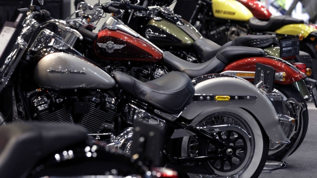 Harley-Davidson Inc. motorcycles stand on display at the Tokyo Motorcycle Show in Tokyo, Japan, on Friday, March 23, 2018. The show runs until March 25. Photographer: Kiyoshi Ota/Bloomberg
