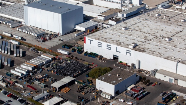 The Tesla plant in Fremont, California. Photographer: Sam Hall/Bloomberg