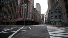 Empty streets in front of Radio City Music Hall in New York, March 19. Photographer: Michael Nagle/Bloomberg