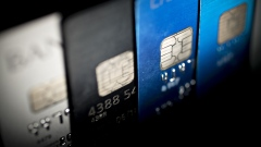 Visa Inc. chip credit cards are arranged for a photograph in Washington, D.C., U.S., on Friday, Oct. 21, 2016.