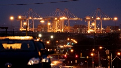 Super post-Panamex cranes stand at the Port of Baltimore. Photographer: Andrew Harrer/Bloomberg