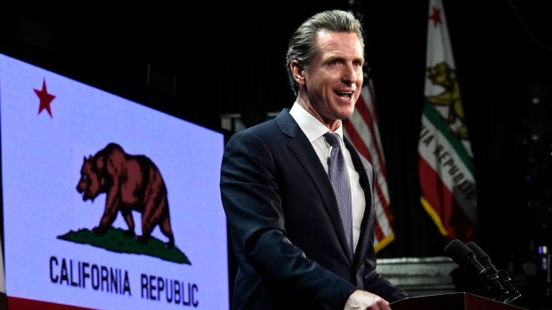 LOS ANGELES, CA - NOVEMBER 06: Democratic gubernatorial candidate Gavin Newsom speaks during election night event on November 6, 2018 in Los Angeles, California.Newsom defeated Republican Gubernatorial candidate John Cox. (Photo by Kevork Djansezian/Getty Images)