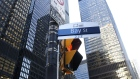 "A ""Bay Street"" sign is displayed in the financial district of Toronto, Ontario, Canada, on Friday, Feb. 21, 2020."