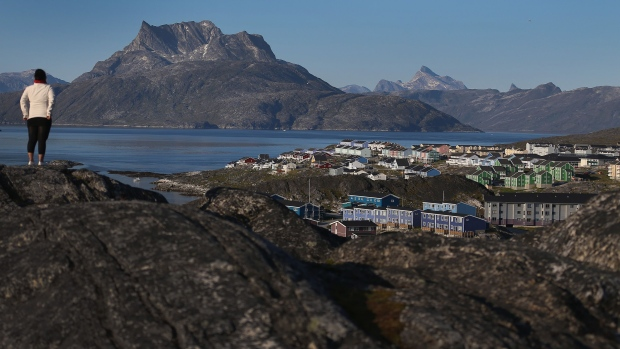 NUUK, GREENLAND - JULY 28: Homes are seen against the backdrop of mountains on July 28, 2013 in Nuuk, Greenland. Nuuk,