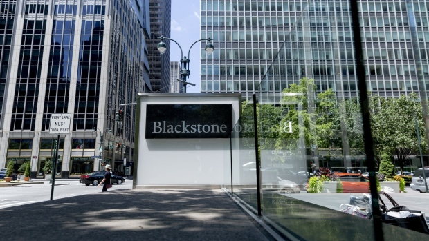Signage is displayed outside the Blackstone Group Inc. headquarters in New York, U.S., on Saturday, July 13, 2019. The Blackstone Group Inc. is scheduled to release earnings figures on July 18. Photographer: Mark Abramson/Bloomberg