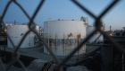 Oil storage tanks are seen at the Marathon Petroleum Corp. Los Angeles Refinery in Carson, California, U.S., on Tuesday, April 21, 2020. U.S. crude futures plunged below zero on Monday for first time. Photographer: Bing Guan/Bloomberg
