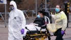 Paramedics bring a patient to Verdun Hospital in Montreal, on Tuesday, April 21, 2020