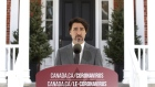 Justin Trudeau, Canada's prime minister, speaks during a news conference outside Rideau Cottage in Ottawa, Ontario, Canada, on Wednesday, April 29, 2020. Trudeau said that the government will do what's needed to protect supply chains. Photographer: David Kawai/Bloomberg