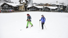 Skiers ski up an empty run at a Vail Resorts Inc. location in Vail, Colorado, U.S., on Thursday, March 19, 2020. Colorado Governor Jared Polis ordered the closing of all ski areas, popular resorts located in a region that accounts for 39 of the state's 131 confirmed cases of the new coronavirus, according to official data. Photographer: Michael Ciaglo/Bloomberg