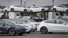 Tesla Inc. vehicles are parked at the company's assembly plant in Fremont, California, U.S., on Monday, May 11, 2020.