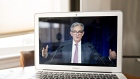 Jerome Powell speaks during a virtual news conference on April 29. Photographer: Andrew Harrer/Bloomberg