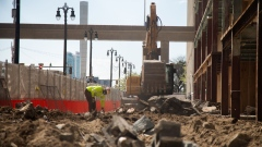 Construction resumes on a building off of Woodward Avenue in Detroit, Michigan, U.S., on Thursday, May 7, 2020.