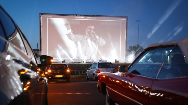 German Rapper Sido performs at the Georg Schutz drive-in cinema on April 26 in Dusseldorf, Germany.