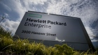Hewlett-Packard Enterprise Inc. signage stands at the entrance of the company's headquarters in Palo Alto, California, U.S., on Monday, May 22, 2016.