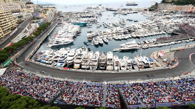 Spectators watch the race on yachts during the F1 Grand Prix of Monaco at Circuit de Monaco, in Monte-Carlo, Monaco, on May 26, 2019.