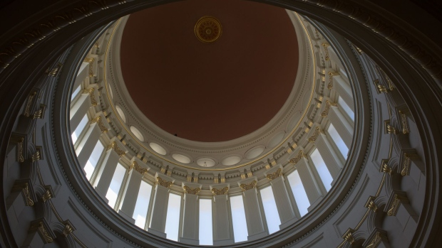 "The rotunda of the New Jersey State Capitol building is seen during renovations in Trenton, New Jersey, U.S., on Thursday, May 14, 2018. Governor Phil Murphy, who once called his predecessor's back-channel financing of New Jersey's $300 million statehouse renovation ""an insult and an exercise in arrogance,"" now says the money is being well spent. Photographer: Alex FLynn/Bloomberg"