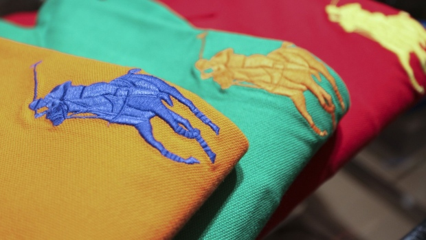 Polo shirts sit on display at the Ralph Lauren store in London, U.K.
