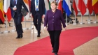 Angela Merkel, Germany's chancellor, arrives for a European Union (EU) leaders summit in Brussels