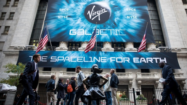 Virgin Galactic signage during the company's IPO at the NYSE. Photographer: Michael Nagle/Bloomberg