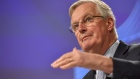 "Michel Barnier, chief negotiator for the European Union (EU), gestures while speaking during a news conference following the first round of Brexit trade talks in Brussels, Belgium, on Thursday, March 5, 2020. Barnier warned there were ""serious divergences"" with the U.K. on the terms of their future ties as their first week of talks ended with the two sides very far apart. Photographer: Geert Vanden Wijngaert/Bloomberg"