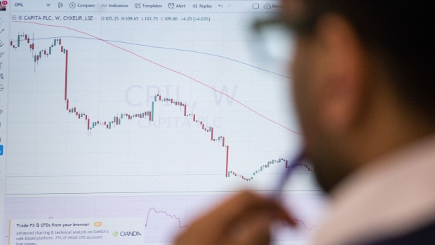 A trader monitors a Capita Plc share price chart. Photographer: Chris Ratcliffe/Bloomberg