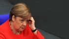 Angela Merkel, Germany's chancellor, reacts in the Bundestag in Berlin, Germany, on Thursday, June 18, 2020.