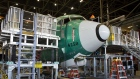 The nose of a Boeing Co. 737 MAX 9 jetliner sits during production at the company's manufacturing facility in Renton, Washington, U.S., on Monday, Feb. 13, 2017.