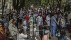 Medical staff and patients gather outside Alvaro Obregon Hospital during an earthquake in Mexico