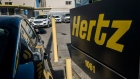 Signage for Hertz stands at a rental location in Berkeley, California on May 5.