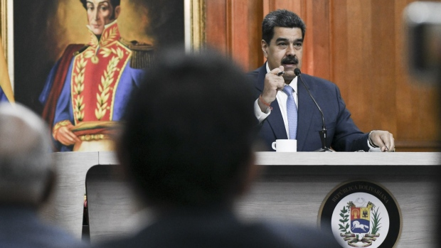 Nicolas Maduro speaks during a press conference at Miraflores Palace in Caracas. Photographer: Carlos Becerra/Bloomberg