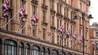 British Union flags fly outside Harrods. Photographer: Chris Ratcliffe/Bloomberg