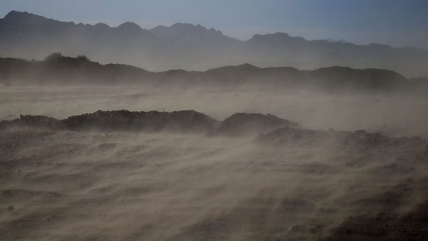 LAKE MEAD NATIONAL RECREATION AREA, NV - MAY 12: Wind kicks up dust along Boulder Beach at Lake Mead on May 12, 2015 in Lake Mead National Recreation Area, Nevada. As severe drought grips parts of the Western United States, Lake Mead, which was once the largest reservoir in the nation, has seen its surface elevation drop below 1,080 feet above sea level, its lowest level since the construction of the Hoover Dam in the 1930s. (Photo by Justin Sullivan/Getty Images)